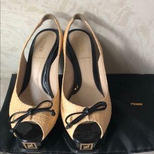 Fendi Raffia Wedge Sandals